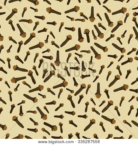 Cloves Buds And Seeds Seamless Pattern; Flat Design Of Brown Dried Cloves; Vector Illustration;