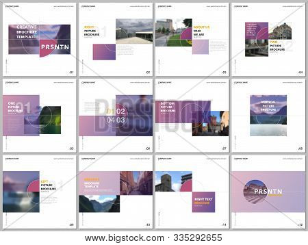 Minimal Brochure Template With Trendy Fresh Colorful Geometric Design. Covers Design Templates For S