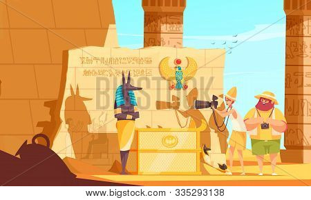 Egypt Travel Cartoon Composition With Burial Chamber Visitors Making Death God Sculpture Photo Near