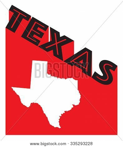 Text In Red And White Proclaiming Texas With A Shadow Backdrop With A Map Silhouette Of Texas State