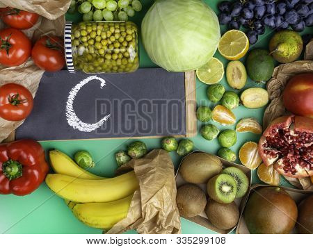 Group Of Foods Rich In Vitamin C On Trendy Green Background, Products Containing Vitamin C,