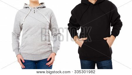 Woman And Man In Hoodie Mock Up Isolated On White Background Copy Space Template. Empty Sweatshirt B