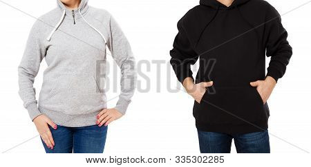 Hoodie Mock Up Isolated Over White Background. Hoody Mock Up, Sweatshirt Empty Blank Logo