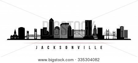 Jacksonville Skyline Horizontal Banner. Black And White Silhouette Of Jacksonville, Florida. Vector