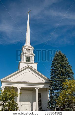 Stowe Community Church In Stowe, Vermont, Usa