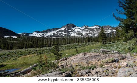 View Of Snow-capped Mountain Near  Winnemucca Lake From Frog Lake In The Spring,  Featuring Mostly M