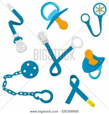 Big Colored Fashion Baby Pacifiers, Dummy With Rubber Holder Nipple. Baby Pacifiers Consisting Of Co