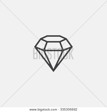 Diamond Icon Vector Symbol Illustration, Diamond Icon In Linear Style, Vector Flat Icon Of Diamond,