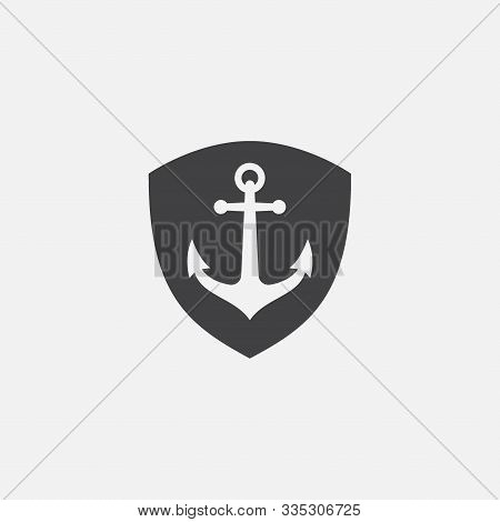 Anchor Shield Vector Logo Icon In Linear Style, Nautical Maritime, Sea Ocean Boat Illustration Symbo