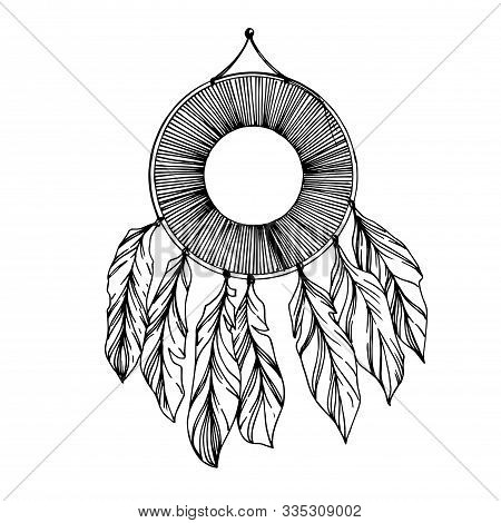 Vector Fether Dreamcatcher. Black And White Engraved Ink Art. Isolated Dream Catcher Illustration El