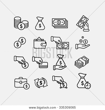 Money Flat Icon Pack, Money Linear Icon Set, Earning Logo Icon Collection, Payment Icon Collections