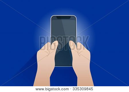 Abstract Mobile Phone Frame Blank Screen In The Two Hands. Cell Phone View. Template For Infographic