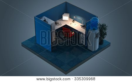 Modern Office Design Interior Room With Furniture In Cutaway. Office Cutaway. 3d Rendering. Night Ti