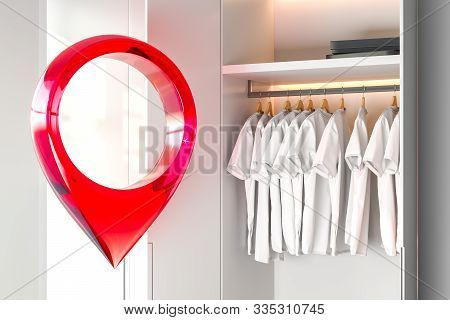 Red Map Geo Tag Pin In Modern Bright Wardrobe Room Interior. 3d Rendering.