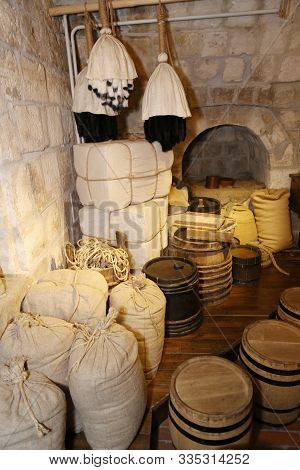 Medieval Cellar With Merchant Store - Furs, Grain, Honey For International Trade