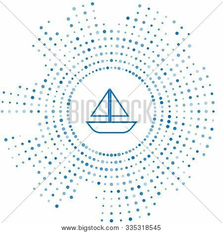 Blue Line Yacht Sailboat Or Sailing Ship Icon Isolated On White Background. Sail Boat Marine Cruise