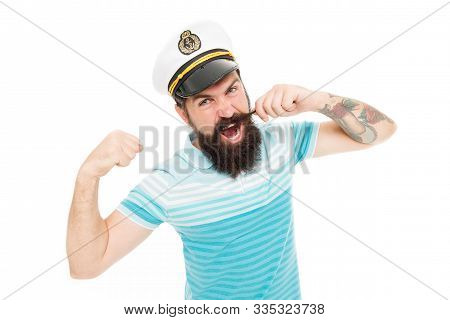Sea Captain, Ocean Spirit. Strong Captain Twirl Mustache Isolated On White. Captain Commander Of Shi
