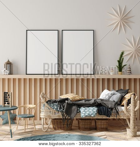 Mock Up Poster Frame In Children Room Interior Decorated For New Year, 3d Illustration
