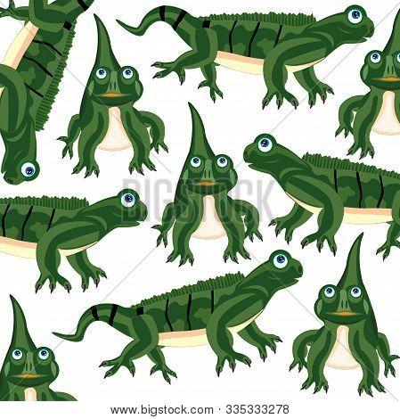 Vector Illustration Of The Large Green Lizard Iguana Pattern