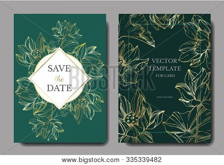 Vector Lotus Floral Botanical Flowers. Black And White Engraved Ink Art. Wedding Background Card Dec