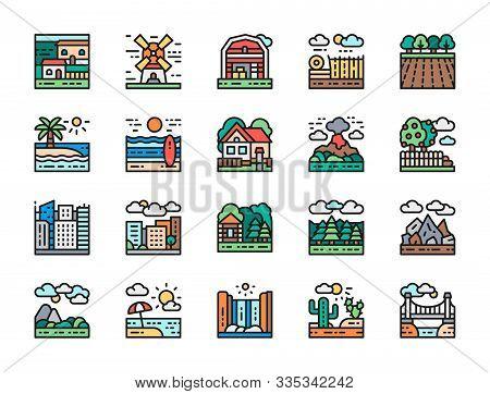 Set Of Landscape And Megapolis Flat Color Line Icons. Bridge, Desert And More.