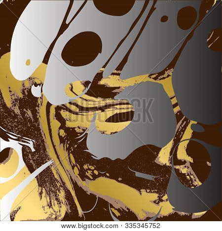 Brown And Gold Ebru Texture. Abstract Vector Background.
