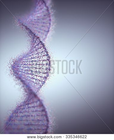 Genetic Syndrome And Genetic Disorder, 3d Illustration Of Science Concept. Colorful Dna Molecule.