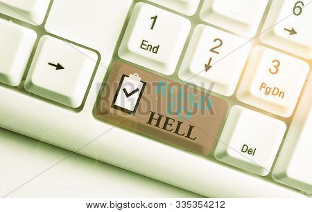 Writing note showing Road To Hell. Business photo showcasing Extremely dangerous passageway Dark Ri Unsafe travel White pc keyboard with note paper above the white background. poster
