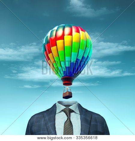 Headless Businessman  With A Hot Air Balloon Above Suit. 3d Render Illustration