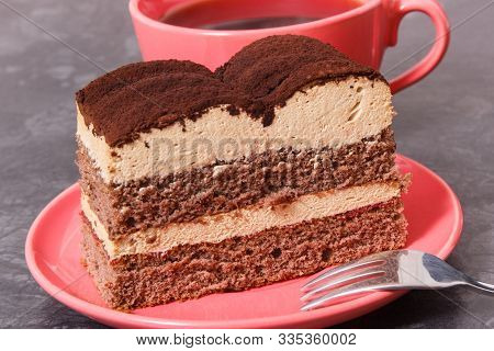 Tasty Tiramisu Cake And Black Coffee As Dessert For Different Occasions. Delicious Dessert
