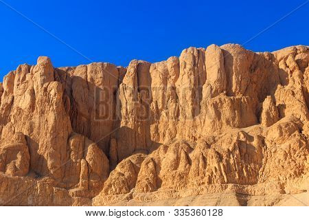 View Of Cliffs And Mountains Near Mortuary Temple Of Hatshepsut In Luxor, Egypt