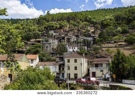 Candal, Portugal - August 22, 2019: View Of The Marvelous Old Schist Village Of Candal Nestled In Th