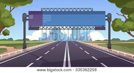 Cartoon Highway. Empty Road With City Skyline On Horizon And Nature Landscape, Highway View. Vector