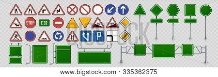 Street Signs. Road Direction And Signboards And Traffic Control Signs, Green Highway Information Shi