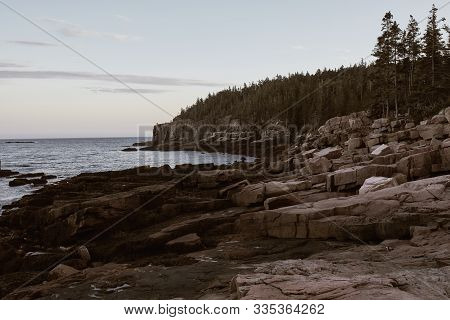 Rugged Cliffs Of Ocean Path Along The Shoreline Of Acadia National Park In Mount Desert Island, Main
