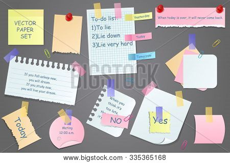 Paper Notes On Stickers, Notepads And Memo Messages Torn Paper Sheets. Sticky Notepaper Posts Of Mee