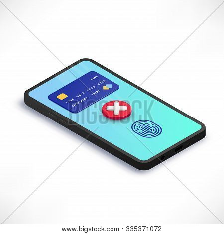 Mobile Payment Error Isometric Concept. 3d Smartphone With Credit Card, Cross Check Mark, Fingerprin