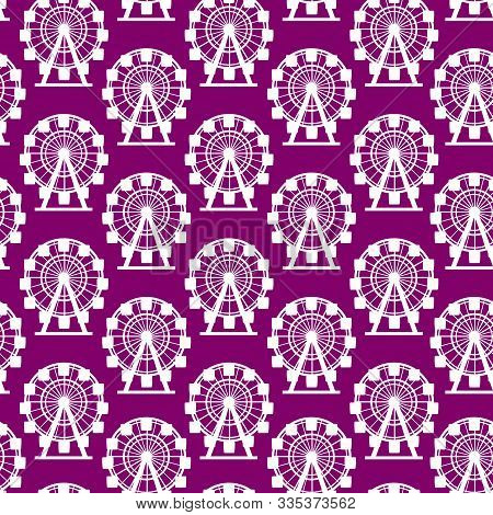 Wheel Circle Attraction Seamless Pattern Background Element Of Amusement Park. Vector Illustration O