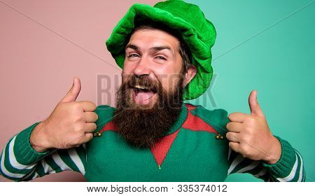 Best Day Ever. St Patricks Day. Hipster With Beard Wearing Green Party Costume Thumbs Up. Cheerful M
