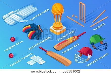 Set Of Isolated Cricket Items Or Ball Sport Equipment. Wooden Stump And Wicket, Helmet And Pads, Glo