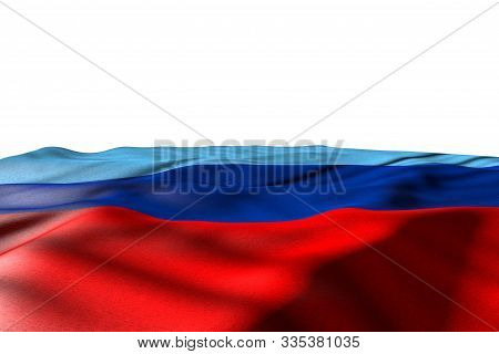 Beautiful Mockup Illustration Of Luhansk Peoples Republic Flag Lying With Perspective View Isolated