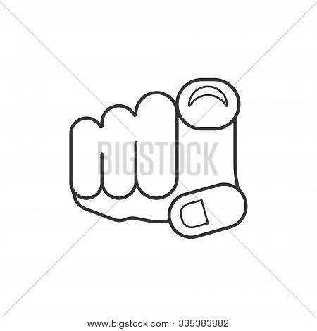 Finger Point Icon In Flat Style. Hand Gesture Vector Illustration On White Isolated Background. You