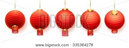 Chinese Lanterns Or Red Paper Lights In Different Views, Vector Isolated On White Background. Chines