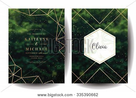 Emerald Greenery Forest Foliage Vector Background. Green Garden Trees Wedding Invitation. Summer Lea