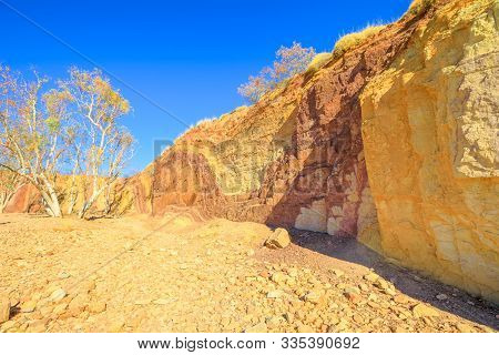 Ochre Pits In Dry River Creek Is A Colorful Rock Formation Of Minerals Ochre In West Mcdonnell Range