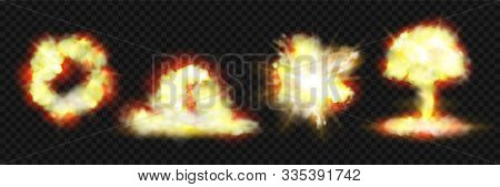 Explosion Blasts, Nuclear Bomb Bangs With Fire And Smog Clouds, Vector Realistic 3d Icons Isolated O