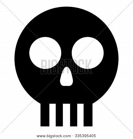 Human Skull Cranium Icon Black Color Vector Illustration Flat Style Simple Image