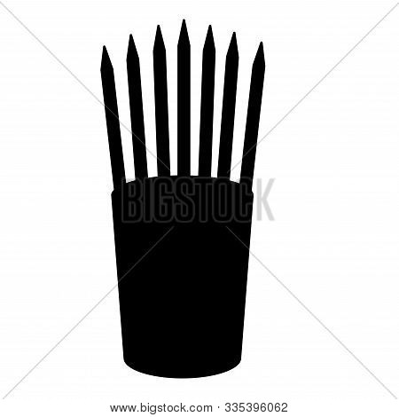 Pencils In Glass Stands Upright Office Supplier Concept Work Place Icon Black Color Vector Illustrat