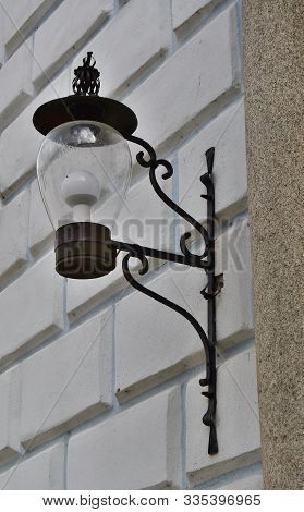 Street Lamp On The Wall Of An Old House, South Bohemia, Czech Republic