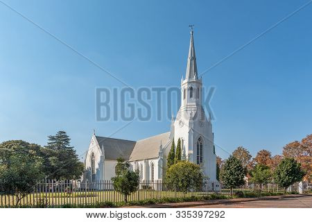 Middelburg, South Africa - May 22, 2019: A Street Scene, With The Dutch Reformed Church, In Middelbu